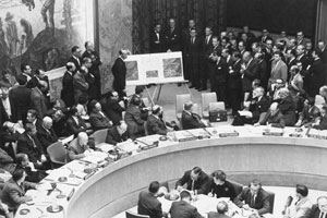 Adlai Stevenson shows aerial photos of Cuban missiles to the United Nations in November 1962.